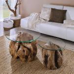 Sofatisch Set aus Teak Wurzelholz runde Glasplatten (2-teilig)