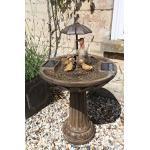 Solar-Springbrunnen mit Entenfamilie und Regenschirm, bronzefarben