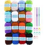 SOLEDI Häkelgarn 16 Farben 40g Wolle Zum Häkeln Acryl Wolle Serie Einweg Handstrickgarn Baumwollgarn für Häkeln und Kunsthandwerk, 16 Farben