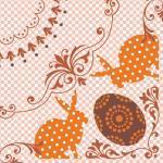 Sovie HOME Serviette Rabea in Orange aus Linclass® Airlaid 40 x 40 cm, 12 Stück - Punkte Ornamente Hasen Ostern 4045825213804