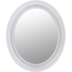 Spiegel Oval weiß Wandspiegel Vintage weiß Spiegel Barock weiss, Ornamente, LxH 41,7x 50,5 cm