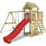 Spielturm Klettergerüst MultiFlyer Holzdach mit Schaukel & roter Rutsche, Kletterturm mit Holzdach, Sandkasten, Leiter & Spiel-Zubehör - Wickey
