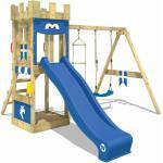 Spielturm Ritterburg KnightFlyer mit Schaukel & blauer Rutsche, Spielhaus mit Sandkasten, Kletterleiter & Spiel-Zubehör - Wickey