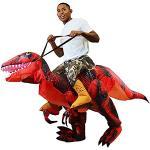Spooktacular Creations Aufblasbares Dinosaurier Kostüm, Reiten ein Raptor Air Blow-up Kostüm für Halloween Party Cosplay Fasching Karneval - Erwachsenengröße