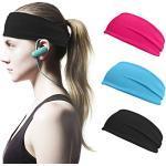 Sport Stirnband Schweißband Anti Rutsch 3 Stück Elastische Stirnbänder für Damen Damen Yoga Stirnband Schweißband Haarband Kopftuch Schlauchschal Halstuch Haarband Totenkopf für Sport, Fitness