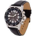 Sprechende Funk-Armbanduhr für Herren mit Lederarmband Solar Black