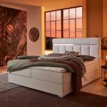 Springboxbett in Weiß Kunstleder LED Beleuchtung und Stauraum