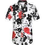 Schwarze Kurzärmelige Hawaiihemden mit Knopf für Herren Übergrößen