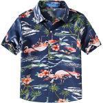 SSLR Jungen Hemd Hawaiihemd Kurzarm Freizeithemd Flamingos 3D Gedruckt Aloha Shirt Beachwear Strandbekleidung (X-Large (13-16Jahren), Dunkelblau)