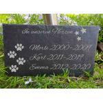 ST 288 - Schiefertafel Gedenktafel Hund Katze Haustier Grabplatte Grabstein