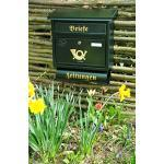 Stabiler Briefkasten, Premium-Qualität, mit Schutzlackierung FG/gr groß in grün dunkelgrün moosgrün Zeitungsfach Zeitungen Post antik Mailbox Schild