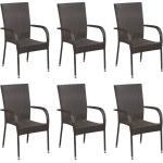 Stapelbare Gartenstühle 6 Stk. Poly Rattan Braun - Youthup