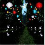 STAR TRADING Lampion »LED Solar Lampion FESTIVAL f. Balkon Terrasse Garten D: 25cm Lichtsensor m. Haken blau«