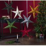 STAR TRADING LED Stern »LED Papierstern Velvet Weihnachtsstern hängend D:60cm Drahtlichterkette hellgrau«, grau