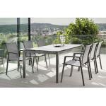 Stern New Top Gartenmöbelset 8tlg. mit Aluminium Tisch 200x100 cm Anthrazit-Karbon/Anthrazit