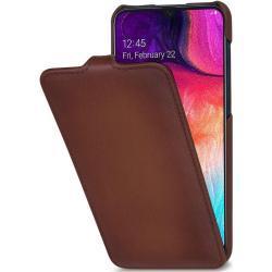 Stilgut UltraSlim Flip-Style Ledertasche, braun für Samsung Galaxy A50