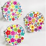 StöpselSpaß Aufkleber für Waschbeckenstöpsel - Motiv: Flower-Power Design 2 - 3 Stück im Set