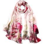 STORY OF SHANGHAI Seidenschal Damen 100% Seide, 20+ Bunte Luxuriöse Schals, Warm & Weich, als Stola Seidentuch Halstuch Pashmina - 53 170 cm Elegant Rot Blumen