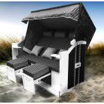 Strandkorb 3-Sitzer OSTSEE anthrazit/grau gestreift
