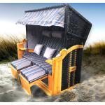 Strandkorb 3-Sitzer OSTSEE braun/blau gestreift