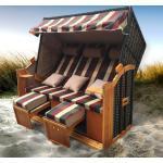 Strandkorb 3-Sitzer OSTSEE rot/grün/beige kariert