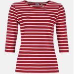 Streifenshirt Damen 3/4-Arm Rot-Weiß Gestreift Ringelshirt