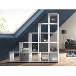 Stufenregal konfigurierbar 5x5 BOON 181x183x33 cm weiß | Hier Regal für Dachschräge individuell planen