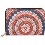 styleBREAKER Geldbörse »Kleine Geldbörse Mandala Ornament Muster«, Kleine Geldbörse Mandala Ornament Muster, blau, Dunkelblau-Orange-Rot