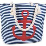 styleBREAKER Strandtasche, Strandtasche mit Streifen und Anker, blau, Blau-Weiß / Rot