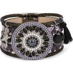styleBREAKER Wickelarmband »Breites Armband mit Perlen, Strass & Ethno Amulett«, Breites Armband mit Perlen, Strass & Ethno Amulett, schwarz, Schwarz