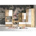 Stylefy Narin Kinderzimmer-Set III Eiche Artisan Hochglanz Weiß Hochglanz