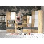 Stylefy Narin Kinderzimmer-Set III Eiche Artisan Hochglanz Weiß Hochglanz Grau Hochglanz