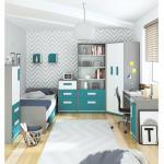 Stylefy Timi Kinderzimmer-Set II Grau Weiß Türkis