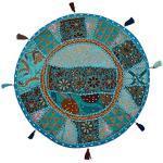 Stylo Culture Indisch Dekorativ Rund Bodenkissenbezug Boho 45 x 45 cm Klein Bodenkissen Vintage Türkisblau Bohemien Patchwork Sitzsack Sitzkissen Baumwolle Bestickt Bodenkissen Balkon