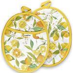 Sugelary Topflappen, hitzebeständig bis 250 °C, Topflappen mit Taschen und Aufhängeschlaufe, maschinenwaschbar, für Küche, Kochen, Backen, 20,3 cm, 25,4 cm, Gelb (Orange)
