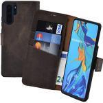 Suncase Book-Style kompatibel mit Huawei P30 PRO Hülle (Slim-Fit) Leder Tasche Handytasche Schutzhülle Case (mit Standfunktion und Kartenfach - Bruchfester Innenschale) in antik braun