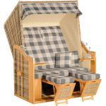 SUNNY SMART Rustikal 30 Z XL Strandkorb Pinienholz/Geflecht, teak/natur-antik 1209, inkl. klappbarem Seitentisch und Auflagen, verstellbar natur/beige