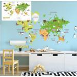 Sunnywall Wandtattoo »Wandtattoo Weltkarte Kinder Kinderzimmer Wandsticker Aufkleber bunt«, bunt, Größe 2 (164 cm x 118 cm)
