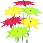 SUNPLAY Sonnenfänger - Sonnenblumen 6er-Set - 2X Gelb, 2X Grün, 2X Rot - Ø 20 cm Durchmesser + Schwingstäbe