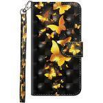 Sunrive Hülle Für Huawei Mate 9, Magnetisch Schaltfläche Ledertasche Schutzhülle Etui Leder Case Cover Handyhülle Tasche Schalen Lederhülle(Goldener Schmetterling)