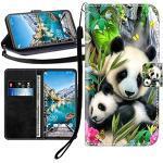 Sunrive Kompatibel mit Motorola Moto E4 Plus Hülle,Magnetisch Schaltfläche Ledertasche Schutzhülle Etui Leder Case Handyhülle Tasche Schalen Lederhülle MEHRWEG(Wasserfall Panda B1)