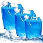 SUNSK Wasserkanister Tragbar Faltkanister Trinkwasser Wasserbehälter Garten Wassertank 5L/10L Wasserbeutel für Camping Reisen Angeln Picknick BBQ Faltbarer Wasserkanister 3 Stück