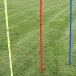 Superhund24 5 x Slalomstange 180 cm, ø 25 mm, mit Metallspieß, für Agility-Training (gelb)