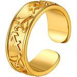 Suplight Damen Ring 18k vergoldet Offener Band Ring mit Sternzeichen Schütze Muster goldfarben 7,2mm Fingerring für Frauen Männer Modeschmuck Accessoire