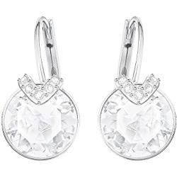 Swarovski Bella Drop Pierced Earrings, with Clear Crystals, Rhodium Plated Setting and Clear Crystal Pavé, a Part of the Bella Collection