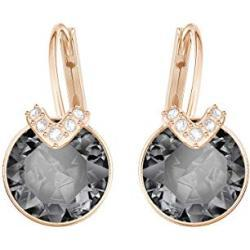 Swarovski Bella Drop Pierced Earrings, with Grey Crystals, Rose-Gold Tone Plated Setting and Clear Crystal Pavé, a Part of the Bella Collection