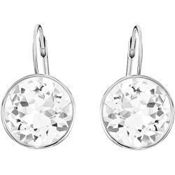 Swarovski Bella Ohrringe, Weiße und Rhodinierte Ohrhänger mit Funkelnden Swarovski Kristallen