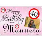Sweet-Prints Geburtstagsbanner 35 40 45 50 55 60 65 70 75 80 85 Banner Geburtstag - Happy Birthday
