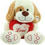 Sweety-Toys 5390 XXL Teddy LOVE YOU Plüschund beige 90 cm Teddybär Herz LOVE YOU Plüschbär Premium Qualität supersüss