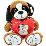 Sweety Toys 5406 XXL Teddy LOVE YOU Bär Plüschund braun 90 cm Teddybär Herz LOVE YOU Plüschbär Premium Qualität Sweety-Toys supersüss
